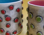 Red Polka Dotted/ Spotted Mug with Turquoise interior