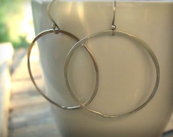 Large Silver Hoop Earrings - Big Silver Hoops - Silver Earrings - Silver Circle Earrings - Hammered Silver Hoop Earrings