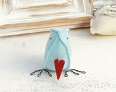 Love Bird Irish Linen Bird Blue carrying a little red heart....i carry your heart with me...