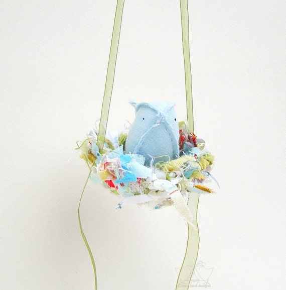 Nursery Mobile Petite Blue Bird in Nest of Threads Baby Boy  Room Decor Soft Sculpture Textile Cotton Bird Designs