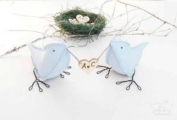 Wedding Cake Topper Custom Order 2 Birds  with personalised love heart MADE TO ORDER Ready to ship 1 week after purchase
