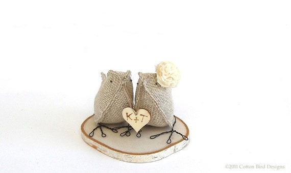 Custom Wedding Cake Topper Personalized Burlap Birds Woodland Rustic Chic Wood Engraved Love  Heart