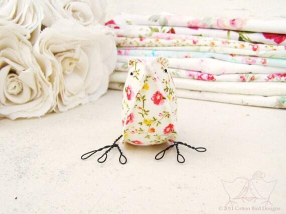 Fabric Bird Soft Sculpture Nursery Baby Girl Decor Fabric Bird Sweet Floral Bird Meadow Flowers