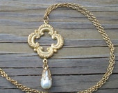 Medieval Quatrefoil Stamped Brass Pendant Necklace - Katherine