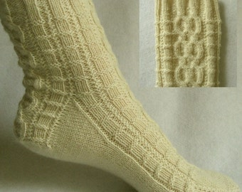 PDF Sock Pattern, Ivory Palisades Sock Pattern, cable sock design with patterned heel
