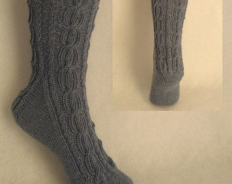 PDF Sock Pattern, Lazy Day Cables Sock Pattern, lace and cable sock design with patterned heel
