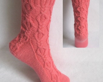 PDF Sock Pattern, Cerise Interweave Sock Pattern, cable sock design with patterned heel