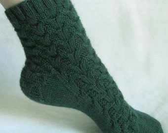 Knitting Sock Pattern, Rainforest Weave Sock, cable sock design with patterned heel, PDF