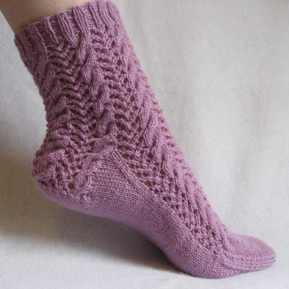 Knitting Sock Pattern, Lavender and Lace Sock, cable sock design with patterned heel, PDF