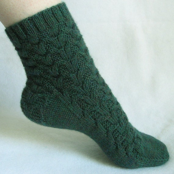 Knitting Sock Pattern, Rainforest Weave Sock, cable sock design with patterned heel, PDF