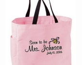 Soon to be or Future Mrs. Bride Bridal Tote Bag Personalized Embroidered - 20 Bag Color Choices