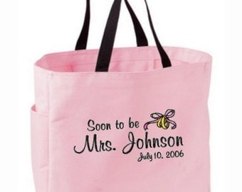Soon to be or Future Mrs. Bride Bridal Tote Bag Personalized Embroidered