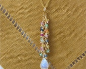 Cha Cha necklace in 14K gold filled (Sapphire and Aquamarine)