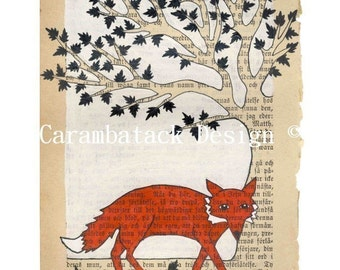 Fox and tree - Print - Red fox nursery art