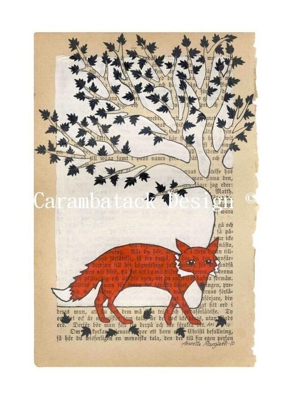 Fox and tree - Print