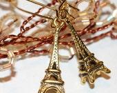 Paris  Earrings  Eiffel Tower Romantic  Antique Gold, Sale