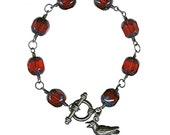 Glamorosi - Gothic Raven Bracelet - Bird Charm Bracelet - Red Glass, Sterling Silver - Unisex Jewelry