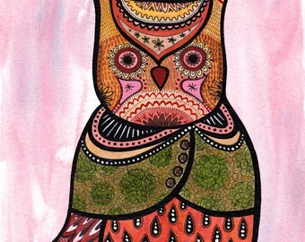 Owl and Little Bird - Art Print