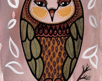 Owl with a beret - Art Print