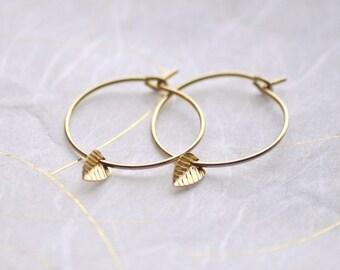 Tiny leaf gold hoop earrings - gold filled small hoops - delicate gold earrings - dainty hoops - simple earrings - edor