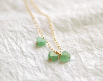 3 Hearts necklace - light green necklace - heart charms necklace - tiny hearts necklace - petite necklace - dainty necklace - Young at Heart