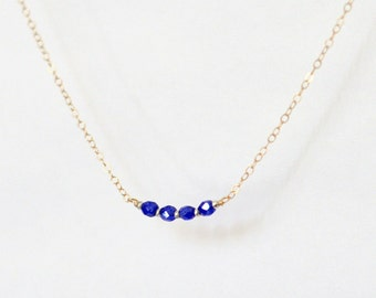 Beaded necklace - cobalt blue beads - tiny necklace - petite necklace - delicate necklace - minimalist necklace - Icing cobalt blue