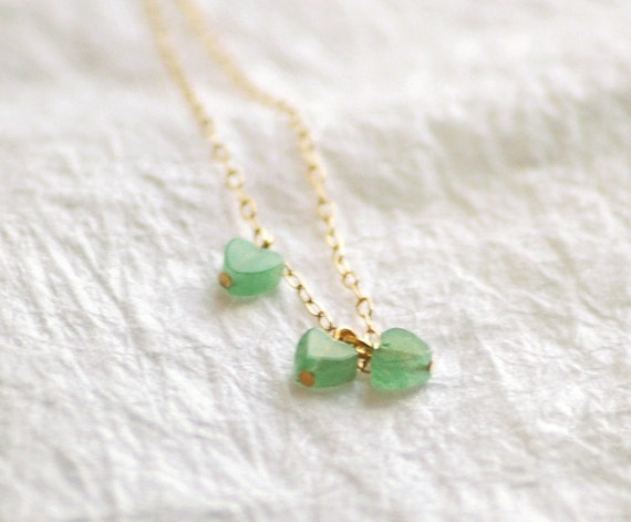 RESERVED PRIORITY SHIP Young at Heart - light green aventurine cluster necklace - tiny charm jewelry stocking stuffer