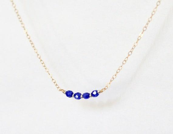 Beaded necklace - cobalt blue beads - tiny necklace - petite necklace - delicate necklace - minimalist necklace - Icing cobalt blue