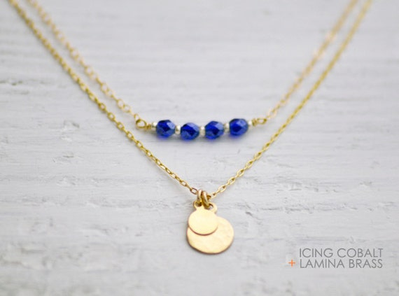 Cobalt blue beaded necklace - tiny gold necklace - delicate beads necklace - simple everyday necklace - gold filled chain - Icing cobalt