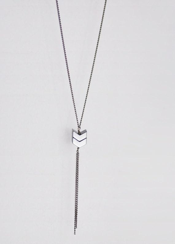 Double chevron necklace - sleek minimal gunmetal long - simple modern jewelry
