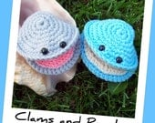 INSTANT DOWNLOAD Crochet Pattern for making a Clam and a Pearl PDF Pattern Seashell Ocean Beach Animal