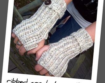 Crochet Pattern for Making Fingerless Gloves Ribbed Wrislets Crochet PDF Pattern Instant Download
