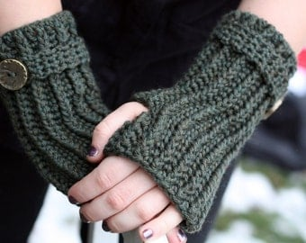 Crochet Glove Pattern Directions for Making Fingerless Gloves Ribbed Wrislets PDF Pattern Instant Download