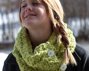 Chunky Cowl Crochet Pattern with Buttons Neck Warmer Scarflet Crochet PDF Instant Download