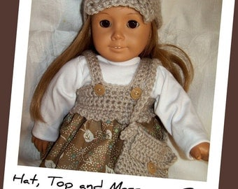 Pattern Directions for Making a Crochet Hat, Top and Messenger Bag for American Girl Type Dolls
