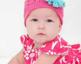 Instant Download Crochet Pattern for a Summer Hat with Flower Baby Toddler Cap Beanie Summer Spring Hat