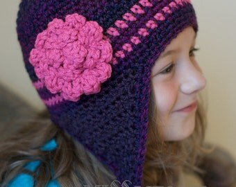 Crochet Pattern for a Purple and Pink Earflap Hat for Infants thru Child PDF Ski Hat Toboggan Beanie