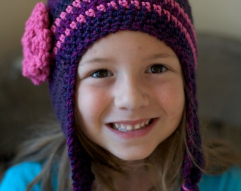 Instant Download Crochet Pattern for a Purple and Pink Earflap Hat for Infants thru Child PDF Ski Hat Toboggan Beanie
