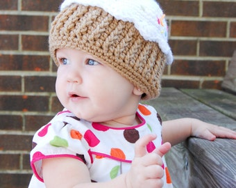 Crochet One Year Cupcake Hat for Infant and Toddlers Custom Order