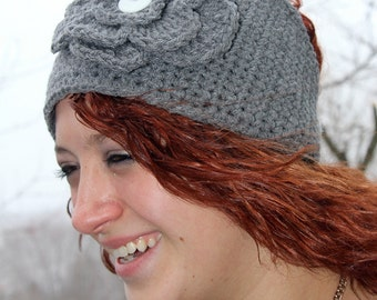 Crochet Pattern for Making Gray Flowered Headband or Headwrap Intant Download