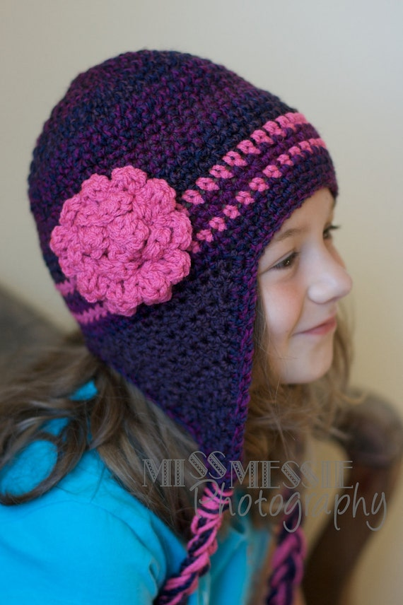Free Crochet Pattern Earflap Beanie : Crochet Pattern for a Purple and Pink Earflap Hat for Infants
