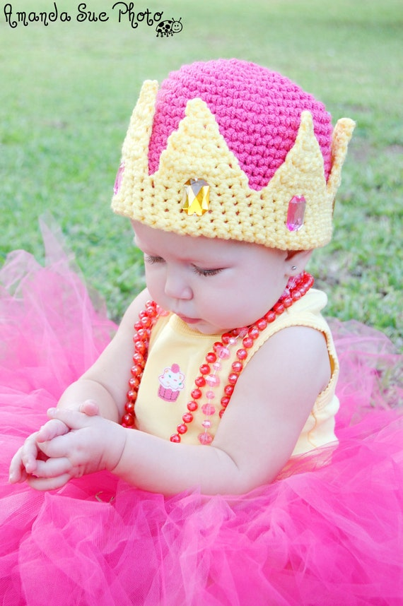 Crochet Pattern for a Princess Crown Hat with Jewels Baby Children Pdf Pattern Instant Download Dress Up