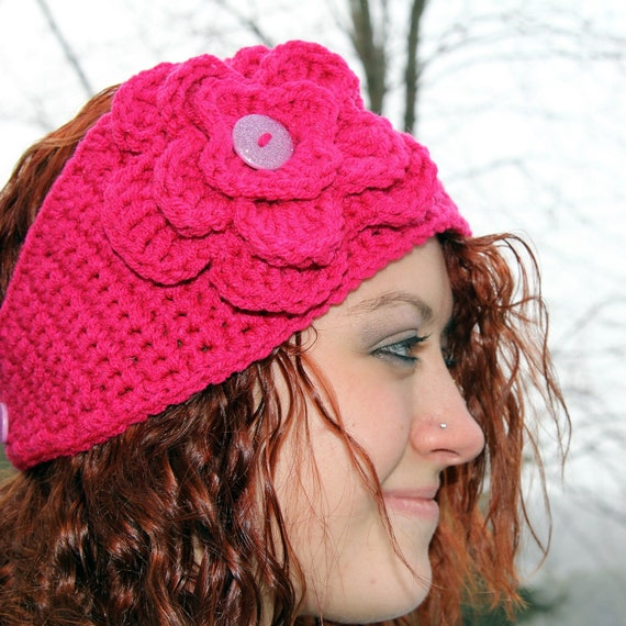 Pattern Instant Download Directions for Making a Crochet Hot Pink Headband Ear Warmer with Flower