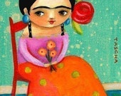 FRIDA Kahlo and CHIHUAHUA dog poster PRINT from original painting by tascha
