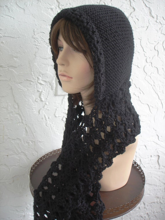 Items similar to hand knit hood scarf hat crochet scarf wool attached scarf h...