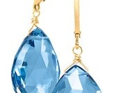 Blue Quartz Briolette Earrings on 14k Goldfilled French Leverback Wires