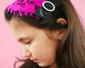 Decades 1930s The Mildred Feather Headband Black Hot Pink