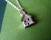 Tiny House Charm Necklace in Sterling Silver