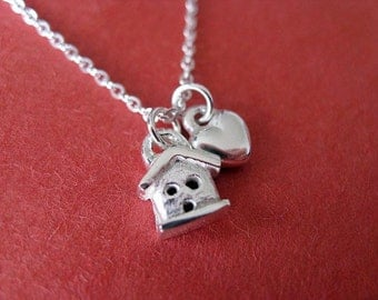 Teeny House and Heart Charm Necklace. Sterling Silver