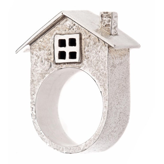 House Ring Sterling Silver Chunky Statement Ring